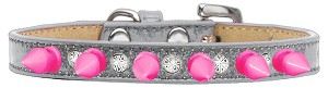 Crystal and Bright Pink Spikes Dog Collar Silver Ice Cream Size 12